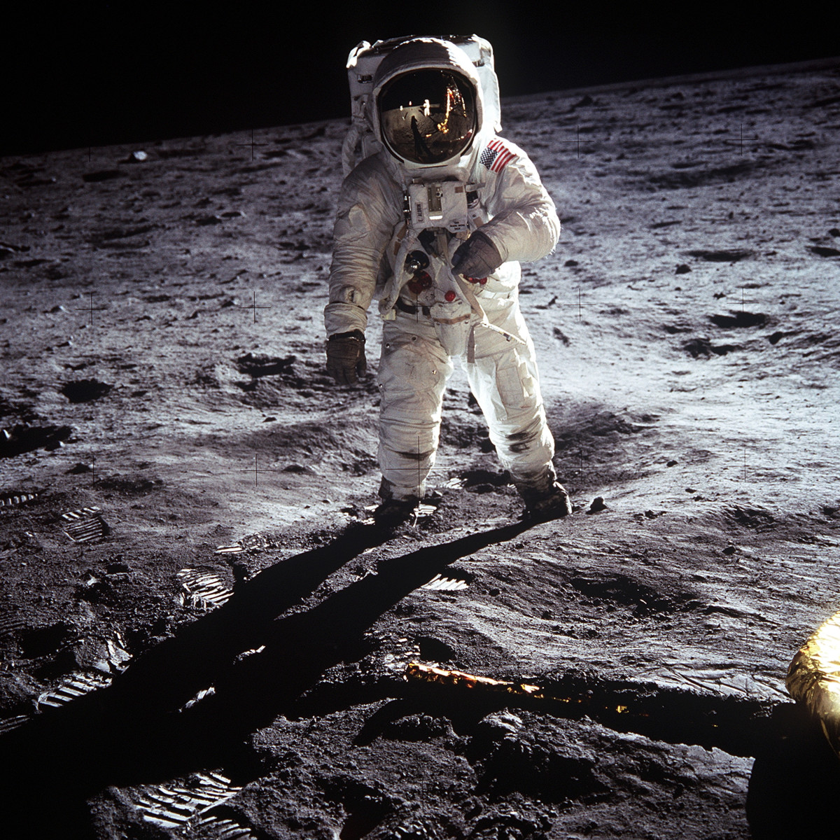Considered one of the finest photos taken during the Apollo 11 mission.  This photo of Buss Aldrin was captured by Neil Armstrong.  You can make out his reflection in the helmet of Aldrin.