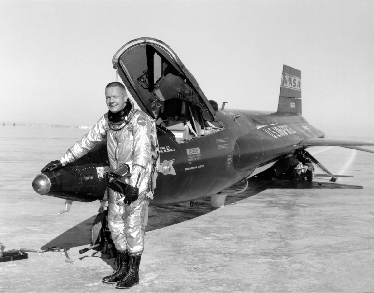 Neil Armstrong is seen here next to the X-15 ship #1after a research flight.