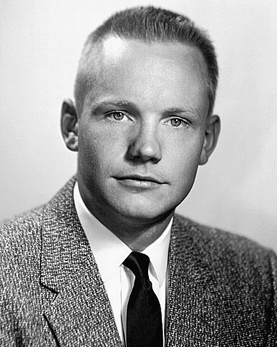 A black and White portrait of Neil Armstrong.