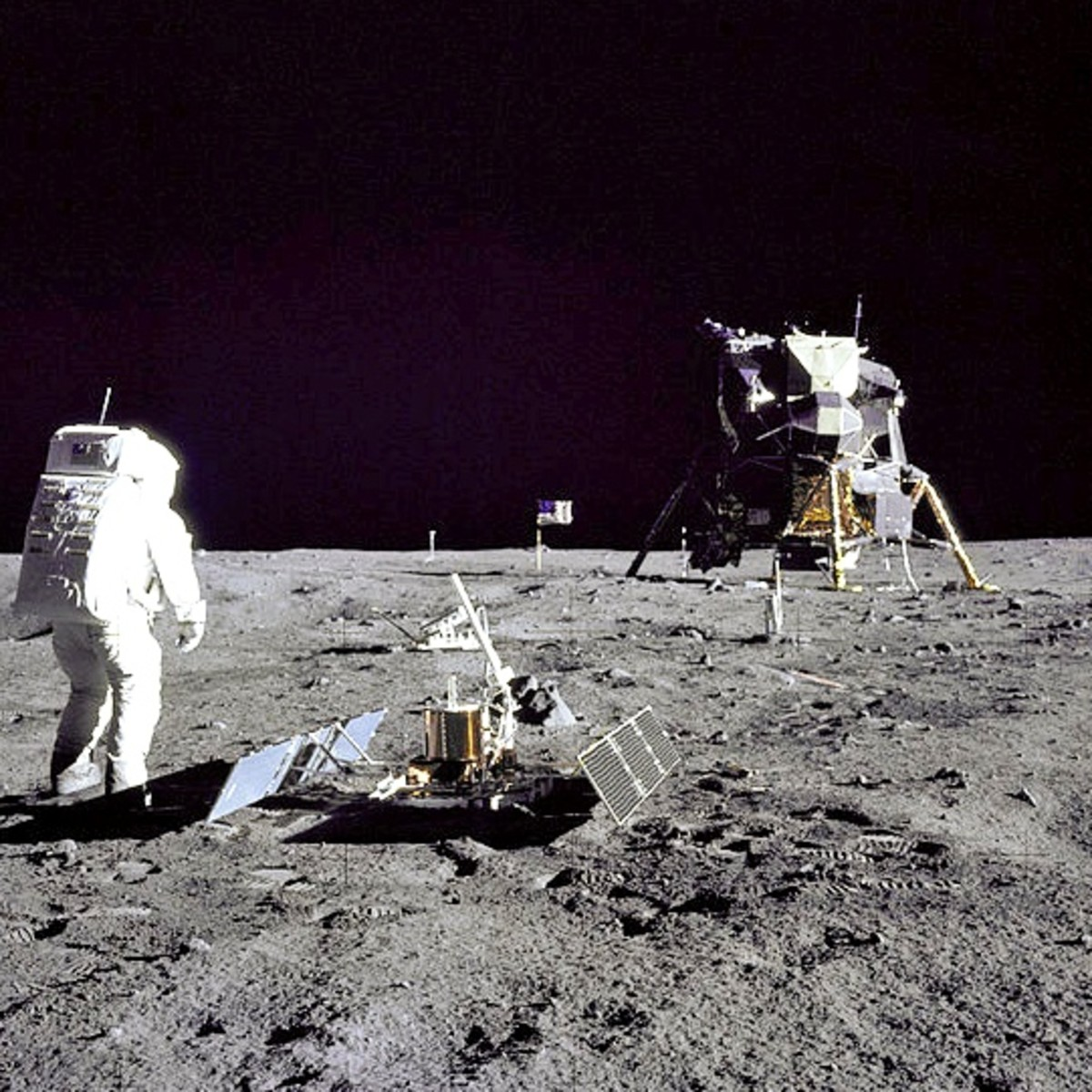 This photograph of astronaut Edwin Aldrin was taken by Neil Armstrong with the special Lunar Surface Camera.
