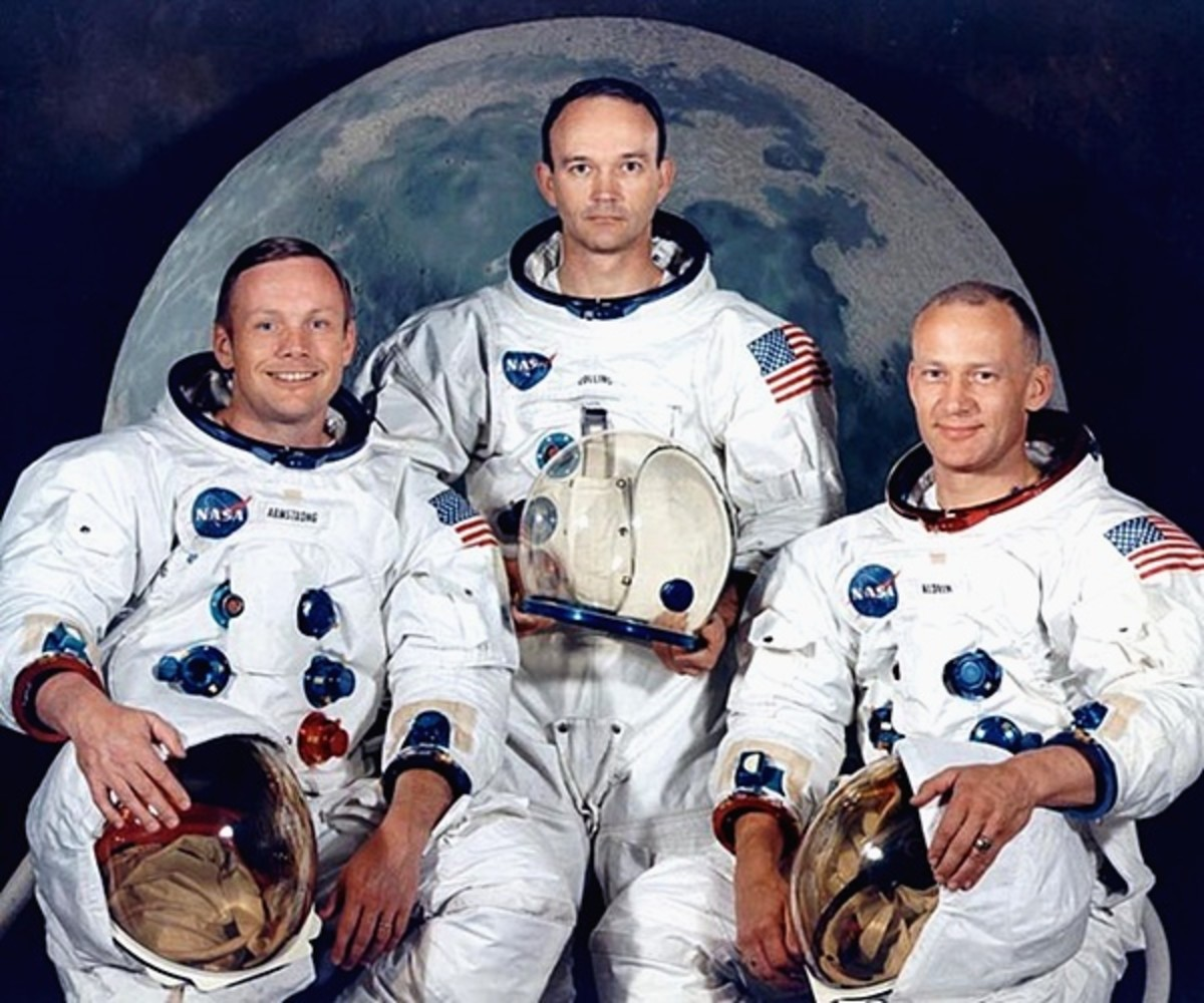 Crew of Apollo 11 Mission, 1969.  From Left: Neil Armstrong, Michael Collins and Edwin Buzz Aldrin