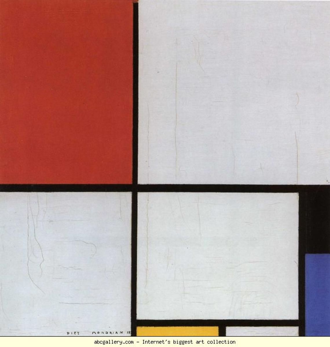Piet Mondrian art Composition (1938) in red, blue and yellow - Analysis of Composition (abstract art movement)