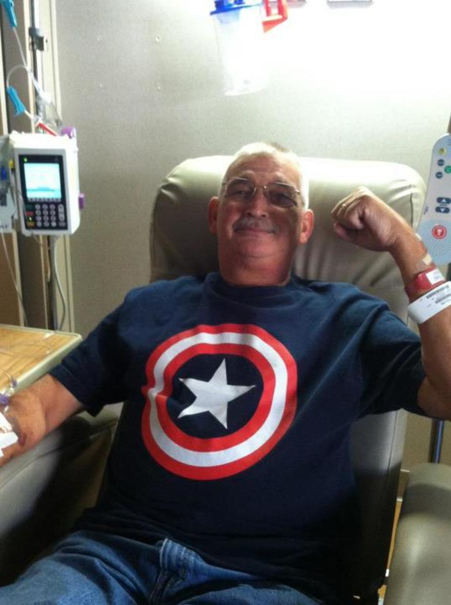 """Captain America (Dave) getting pumped up for his """"Super Soldier Serum"""" aka Blood Transfusion."""