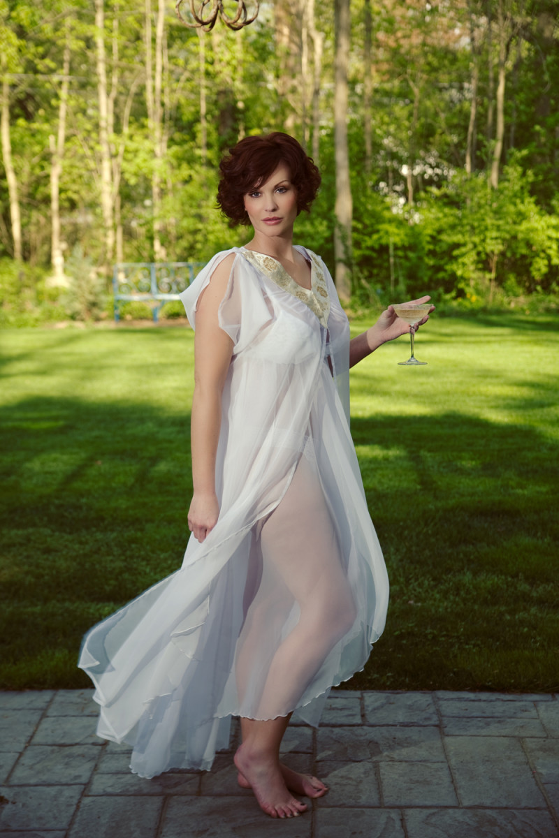 Plus size negligee and nightgown in white chiffon ideal for a bride. Custom Made by Certain Style.