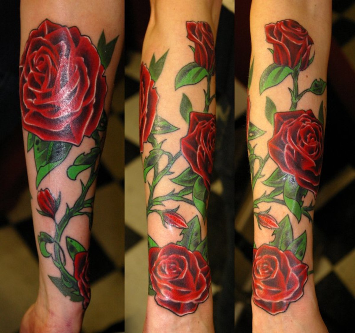 Rose tattoo with thorn, leaves, and vine