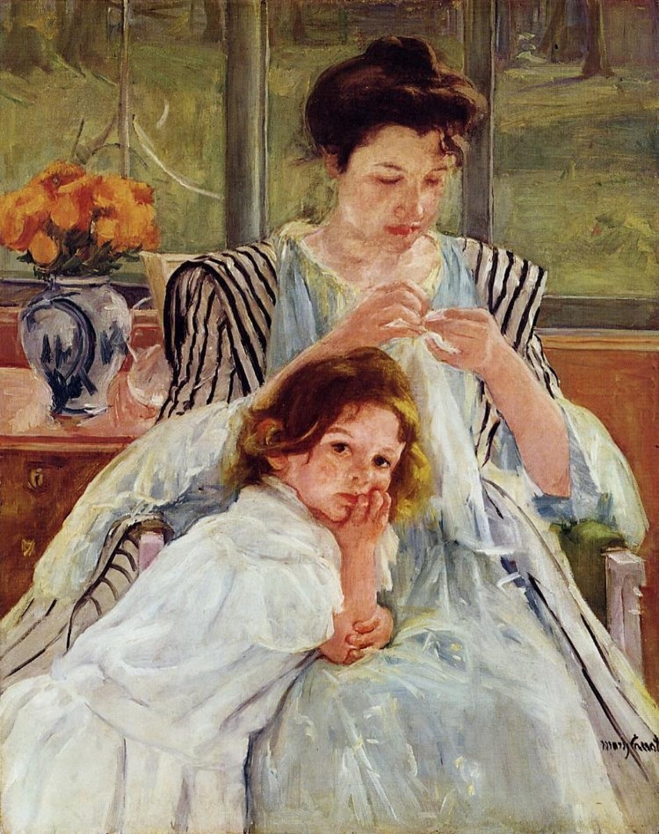 """In """"Young Mother Sewing,"""" the mother is busy with her work and doesn't even stop when the little girl leans on her lap."""