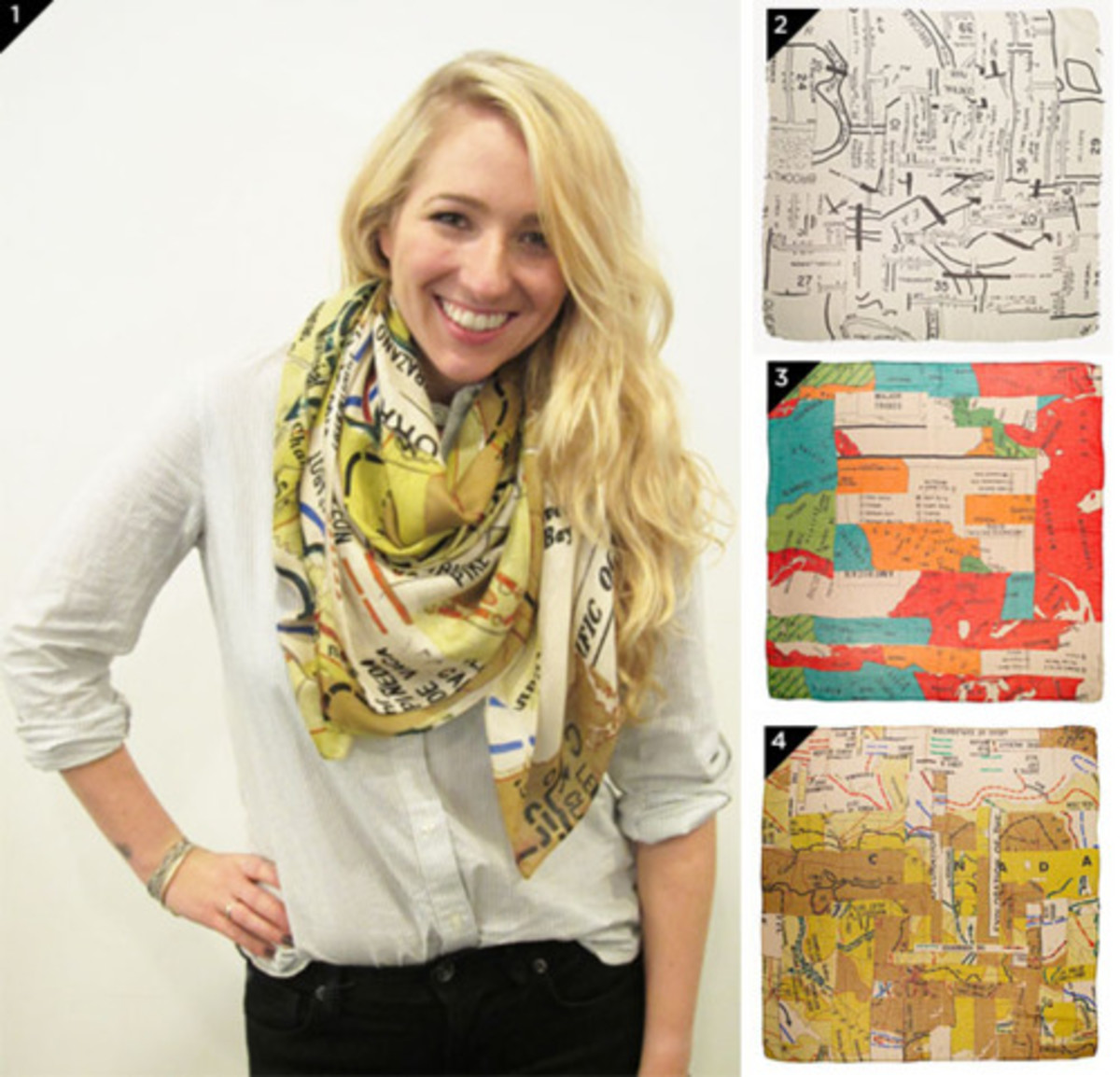These lovely scarves have map prints.