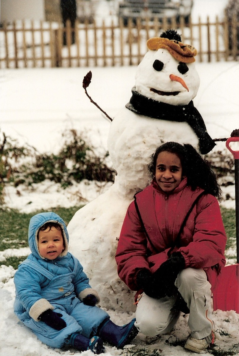 Building a snowman, snow fort, or anything else out of snow is a fun outdoor art activity.