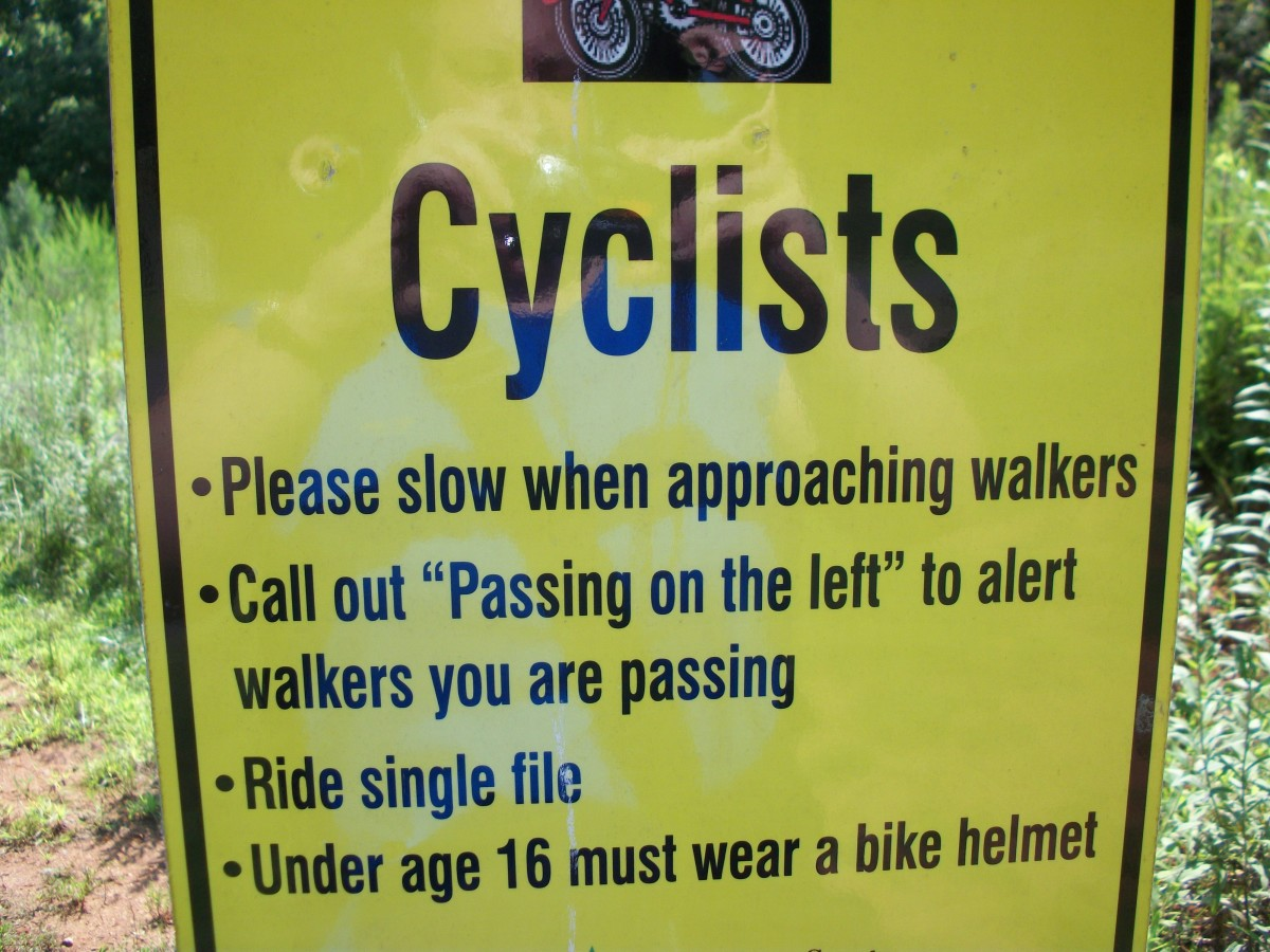 Biking etiquette on the trail.  As a walker, make sure you always look behind you before crossing over the trail.