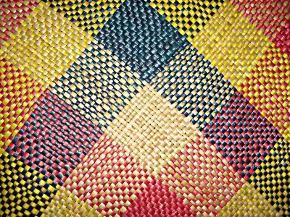 A close look of a handwoven native mat.