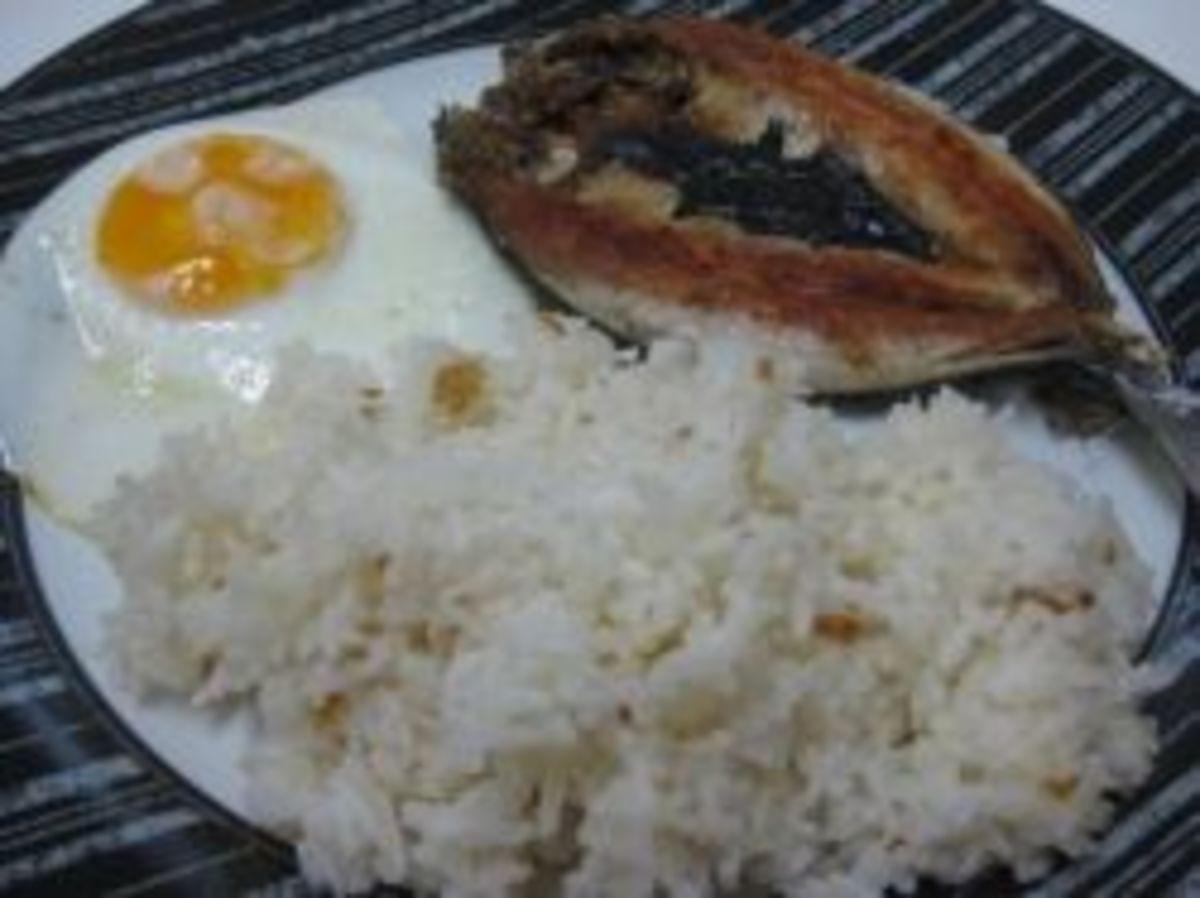 Bangsilog (fried bangus fish, fried egg, fried rice)