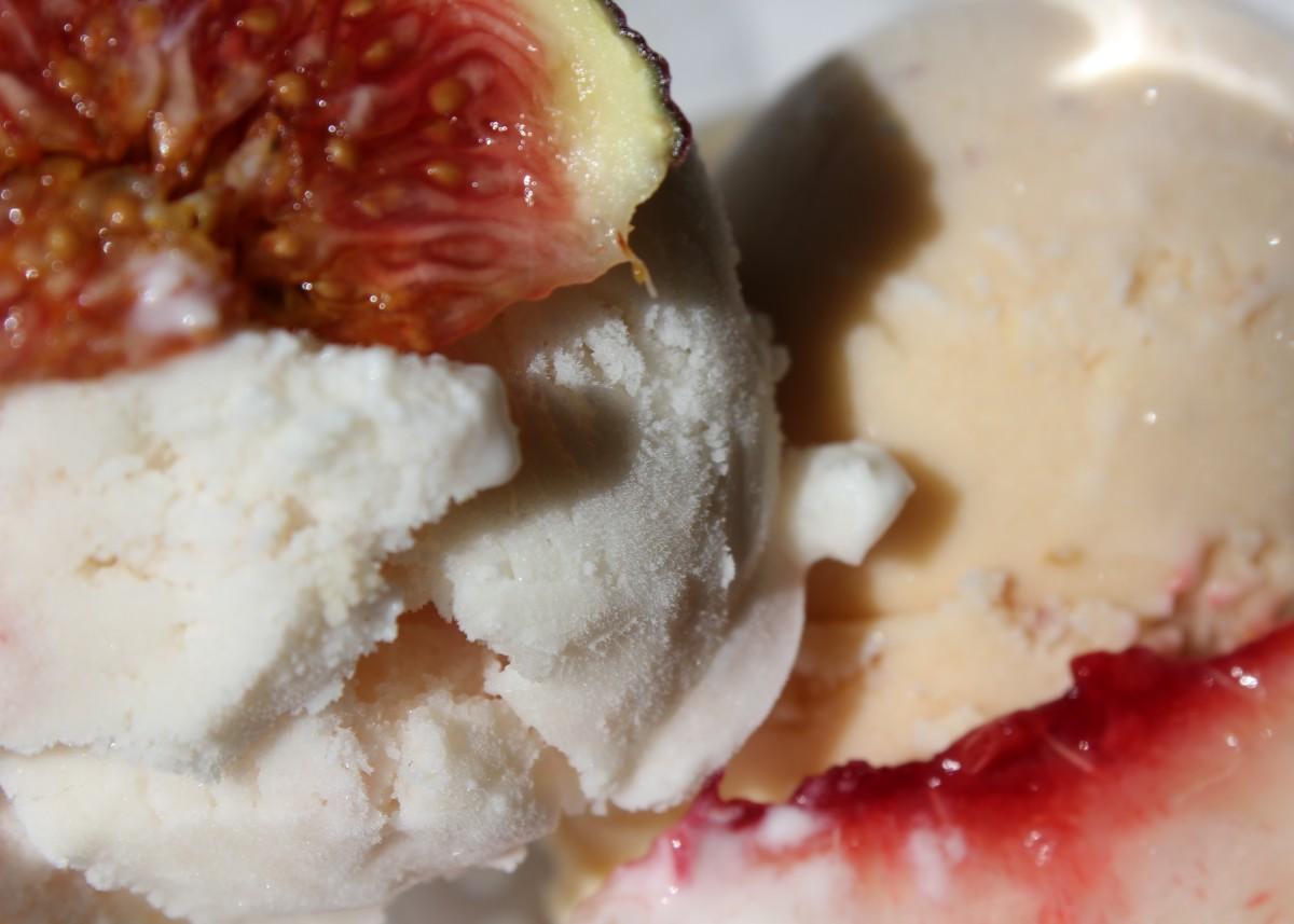 Custardless goat cheese fig walnut ice cream, shown here with white peach lavender creme fraiche ice cream.