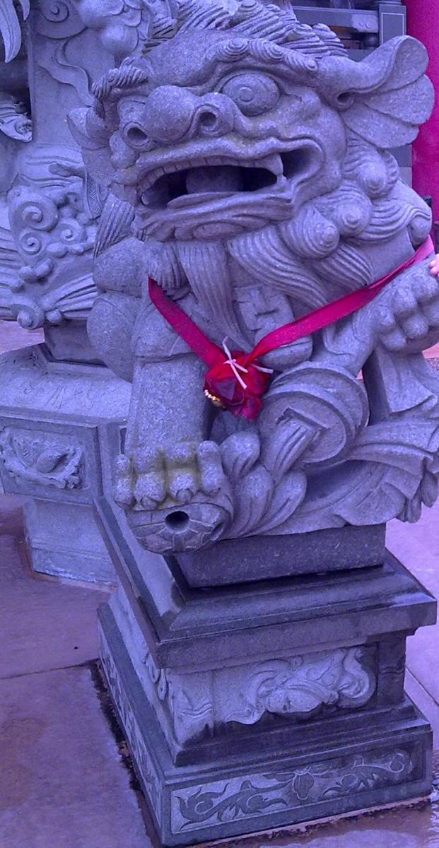 Male Imperial Guardian Lion holding onto the ball