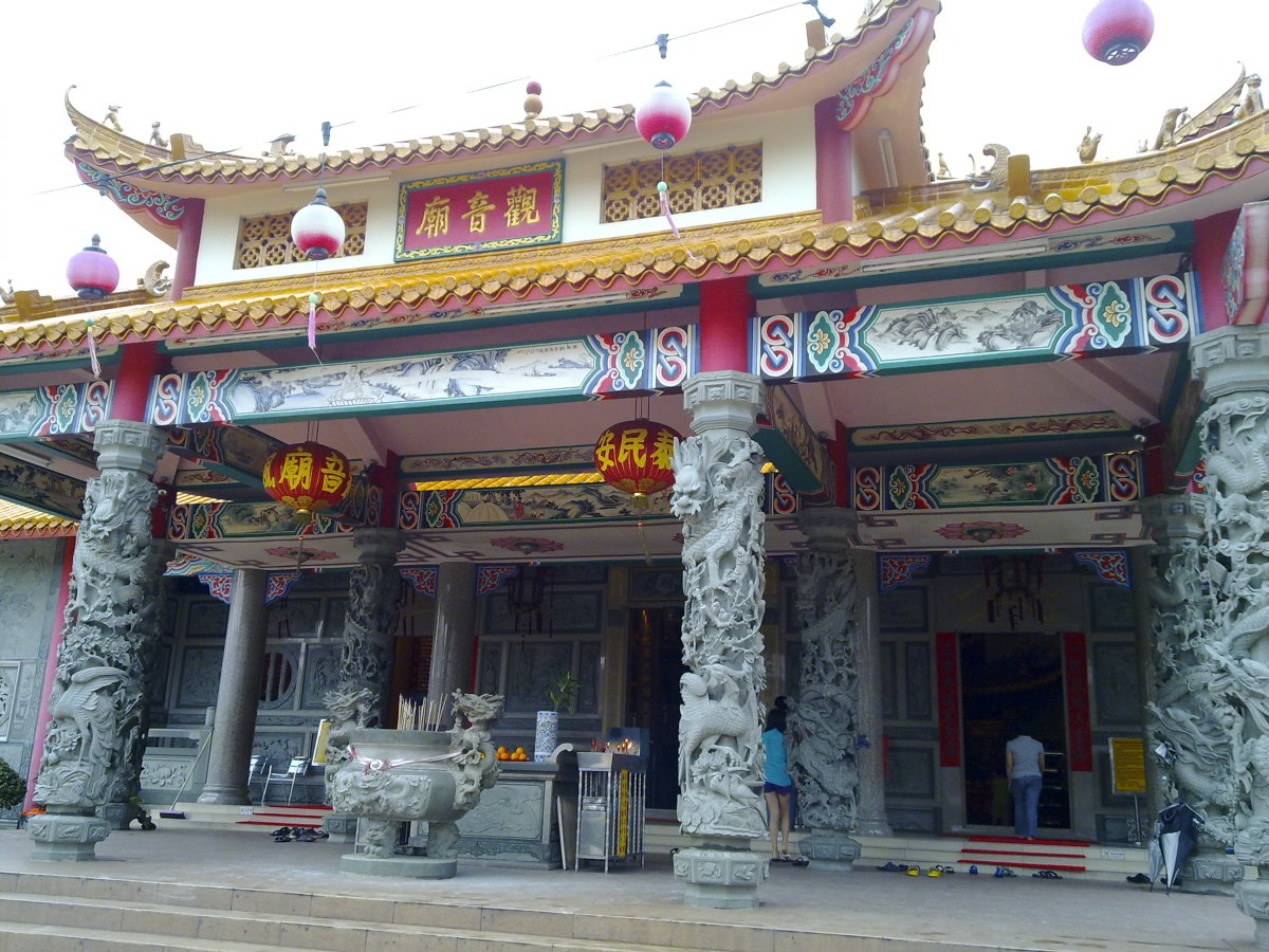 Front view of the temple leading to the 3 entrance, left, middle and right hand side.
