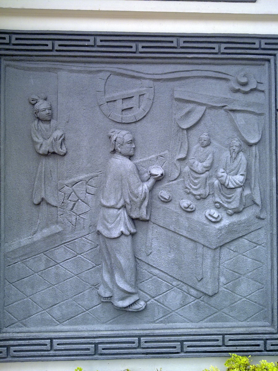 This scene shows an ancient chinese man praying to his ancestors which indicates filial