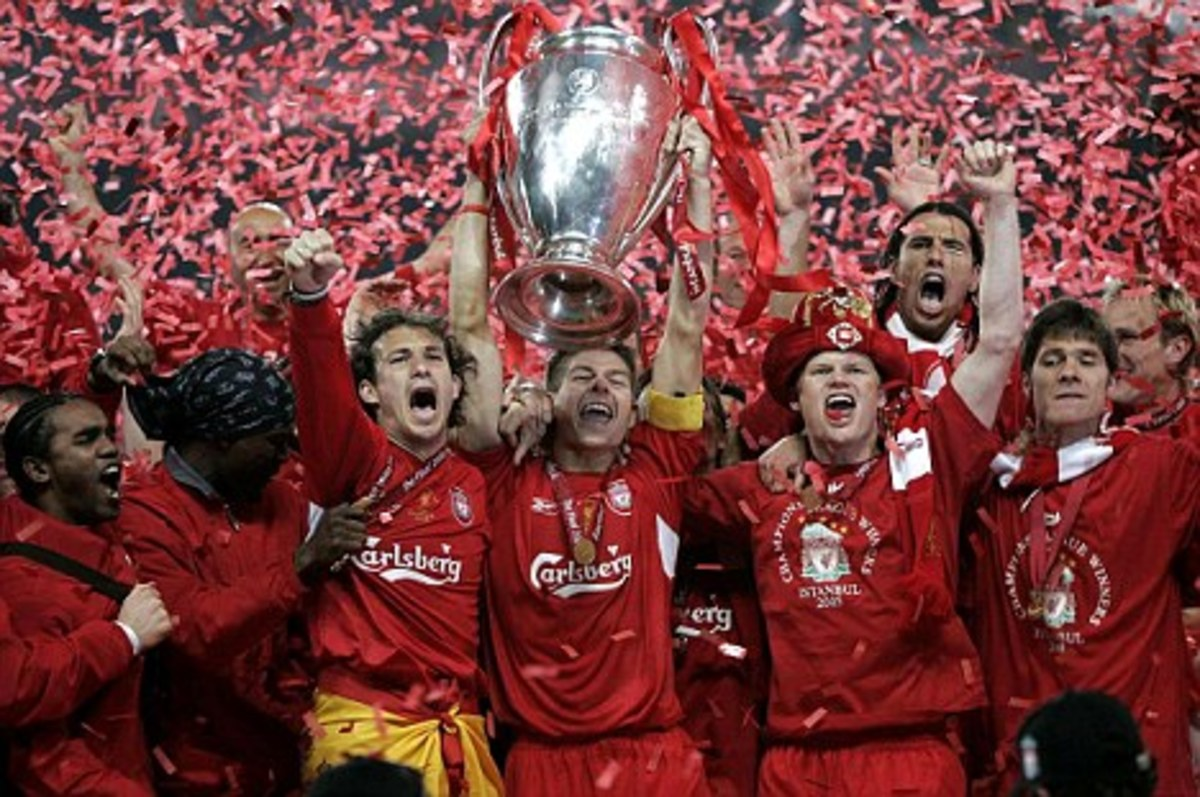 Liverpool celebrating their 5th UEFA Champions League Trophy
