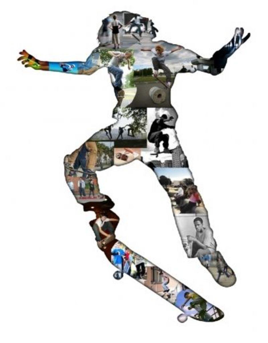 Skateboarder Shape Collage
