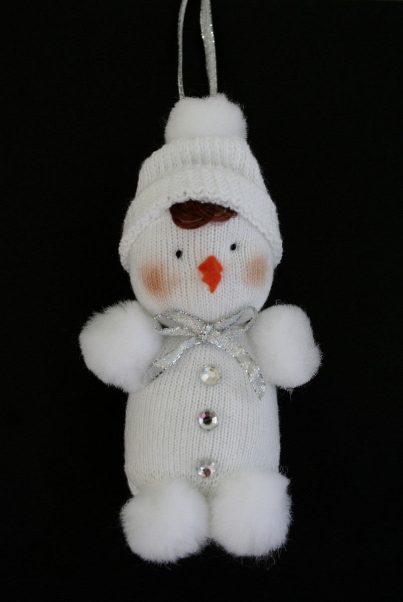 Snow baby made from white baby socks