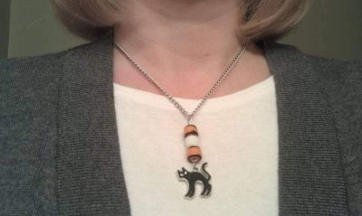 Wearing my Black Cat Necklace