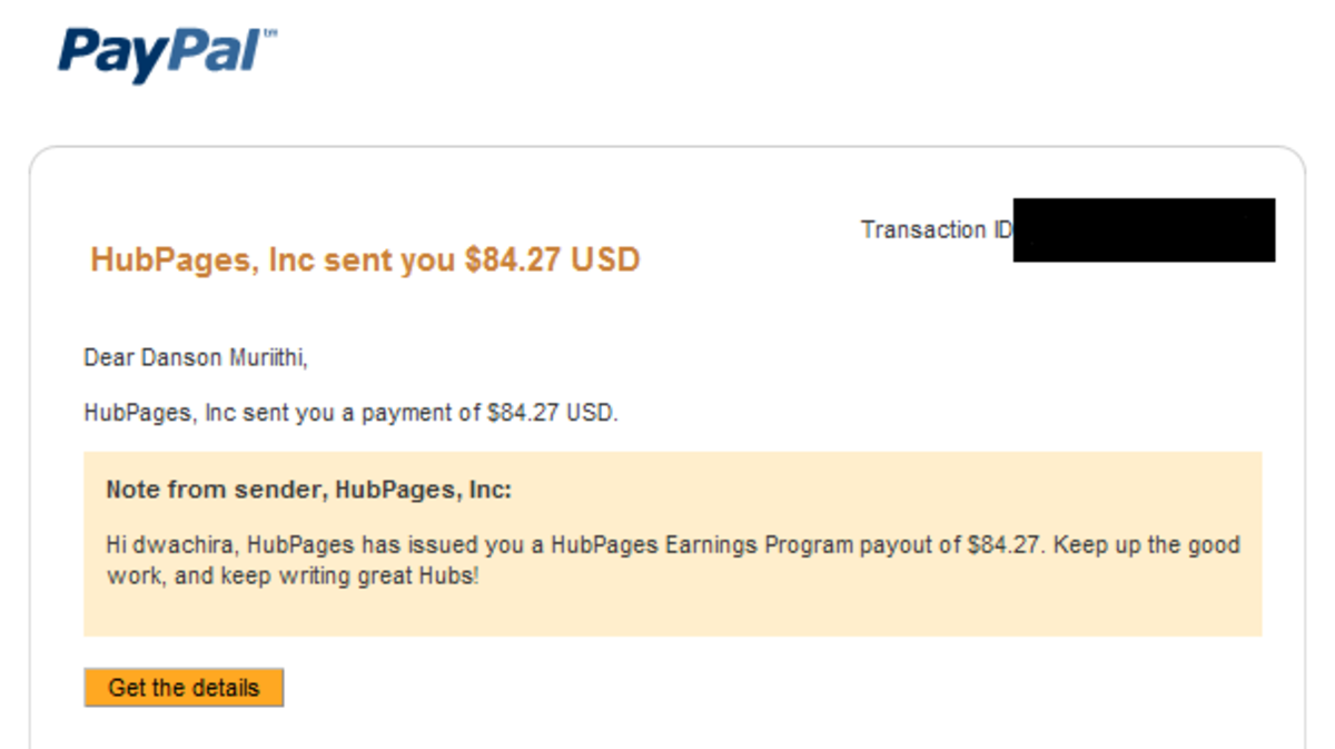 Hubpages first ever payout