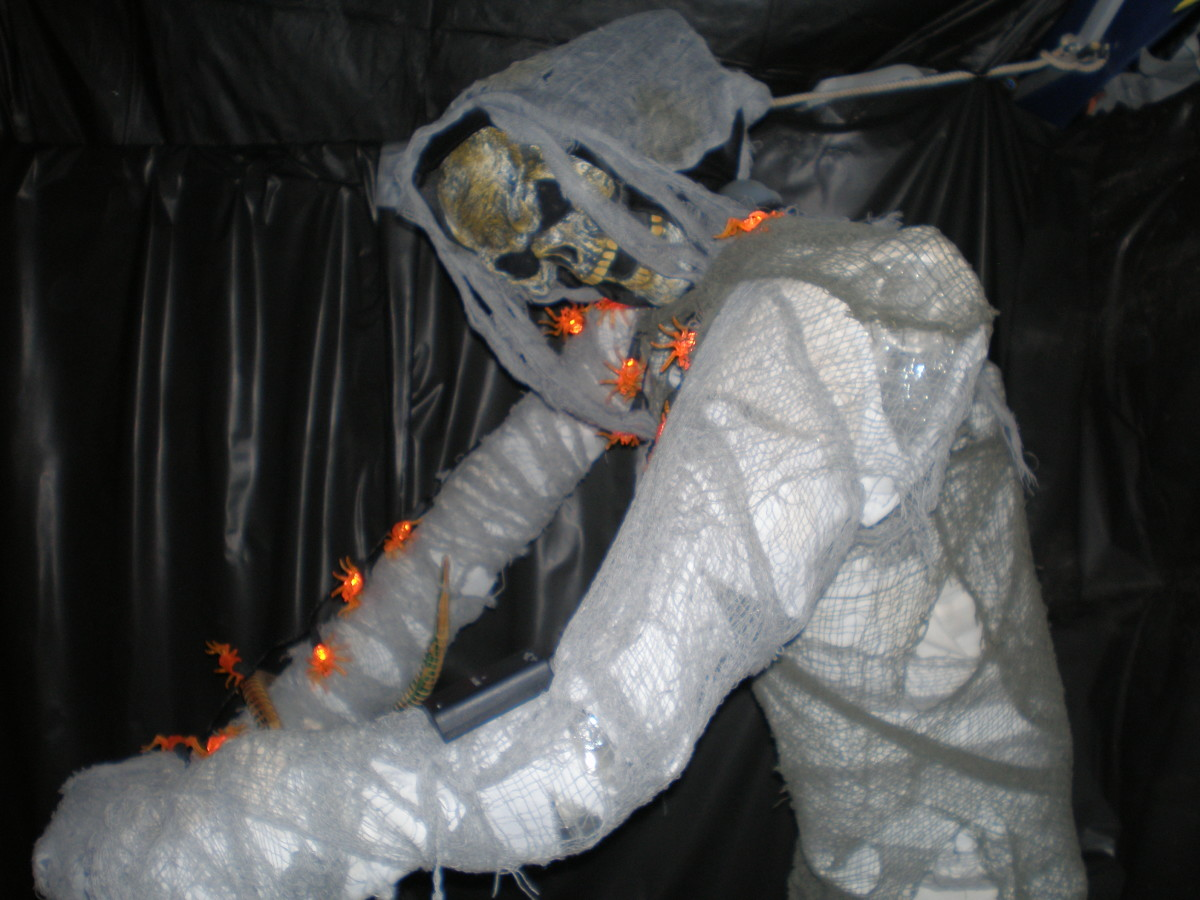 This DIY haunted house prop was made from PVC pipes and gauze cloth.
