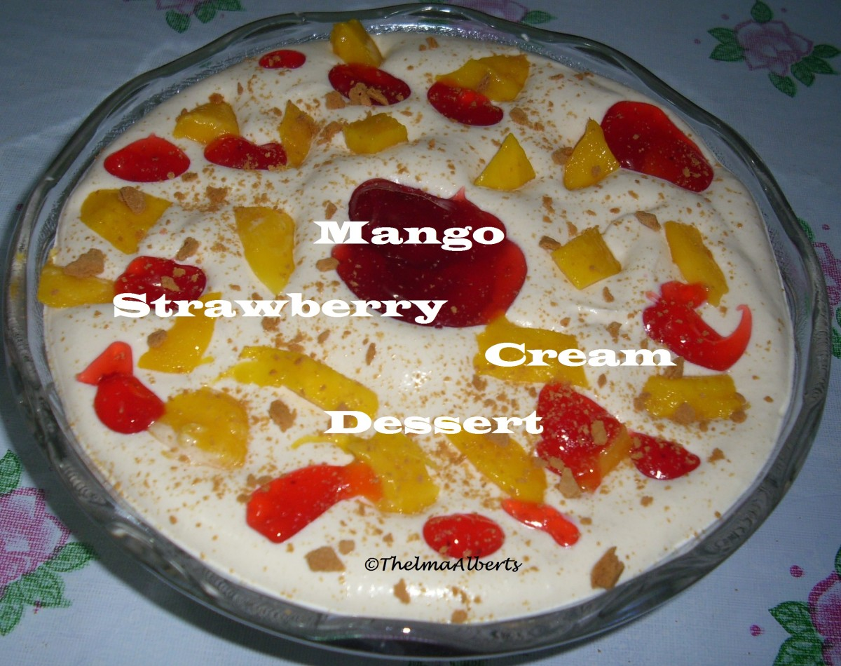 Mango Strawberry Cream Dessert