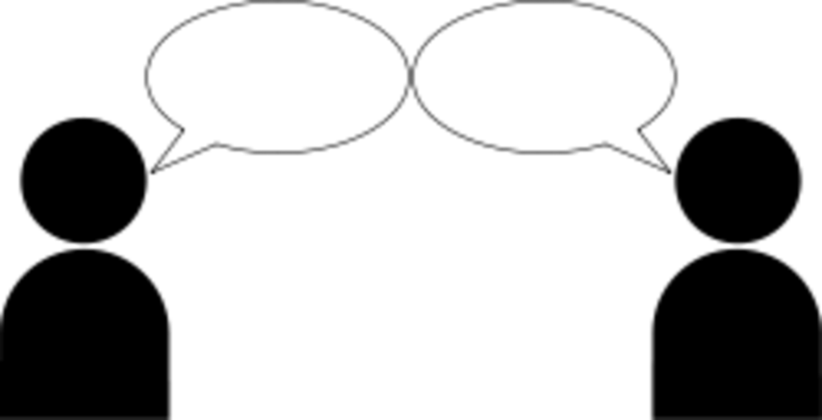 {Image: Two people with blank speech bubbles.}