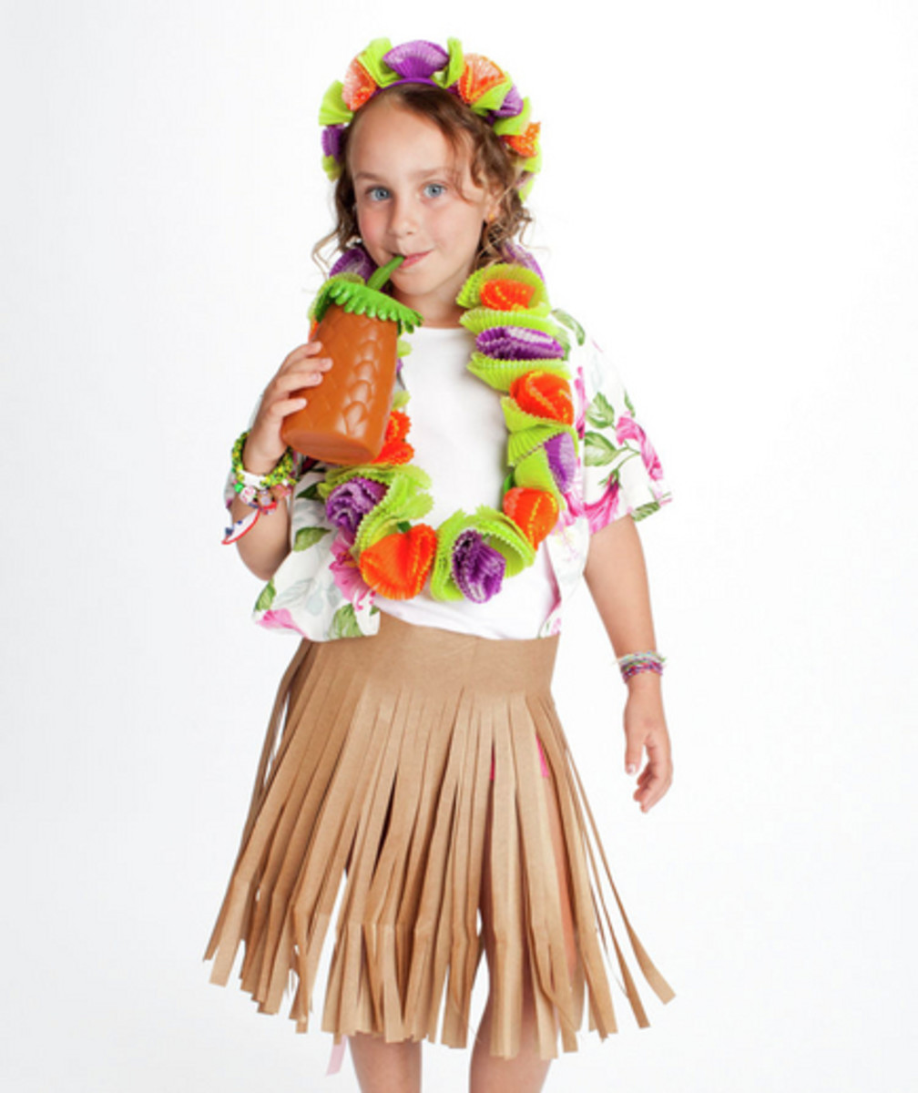 You could make the hula skirt out of a paper sack. Cupcake liners for the neckless or use fake flower heads to create.