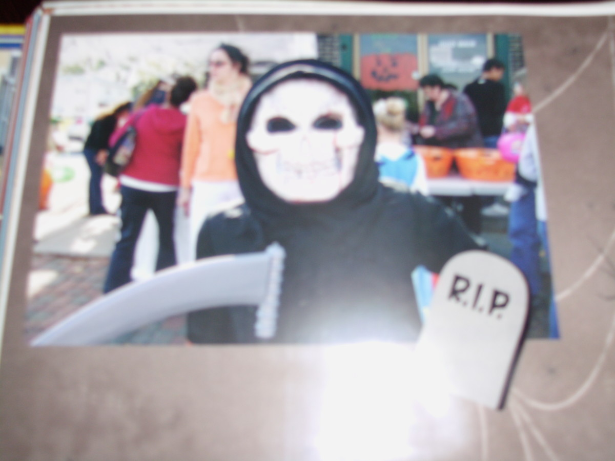 My son in 2005. This costume has been reused multiple years and we still use the mask part today, every Halloween to scare kids.
