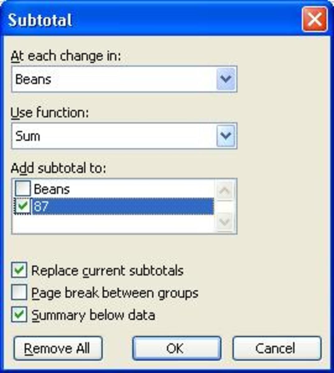 Subtotal option