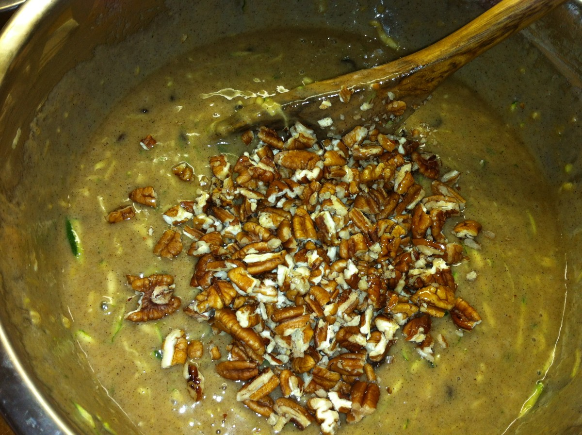 Next, mix in the pecans.