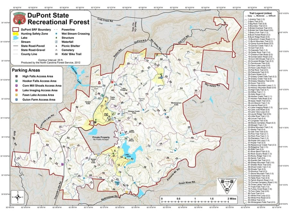 Map of Dupont State Forest with major roads, biking trails, rivers and lakes.