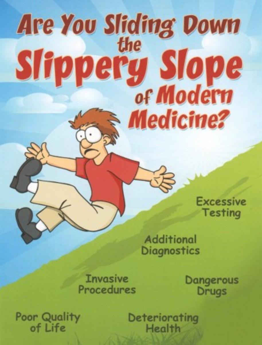 Cartoon about modern medicine.