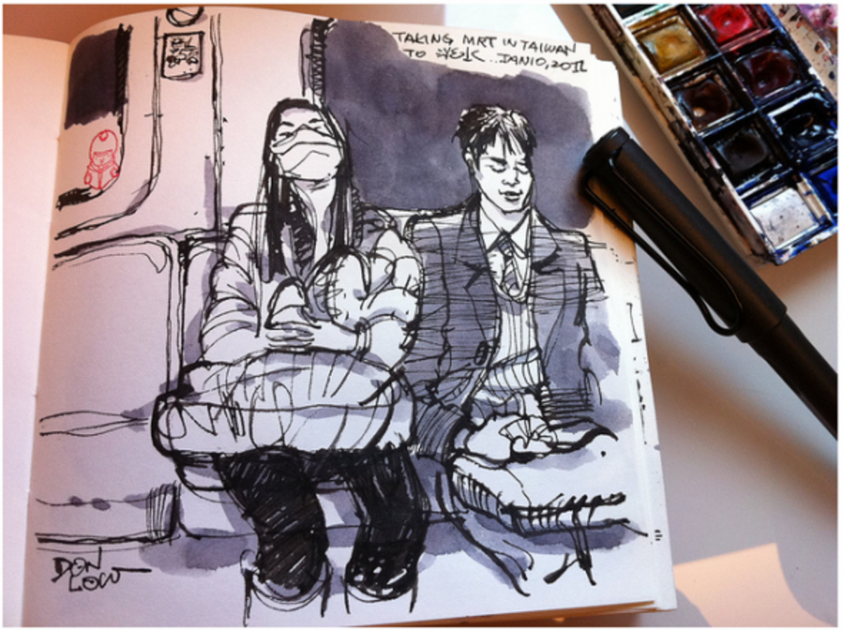 Public transport offers a short time to sit and draw what you see - which is often interesting people!