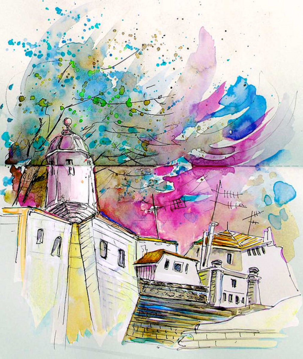 Gorgeous watercolour scene - so much movement and life!