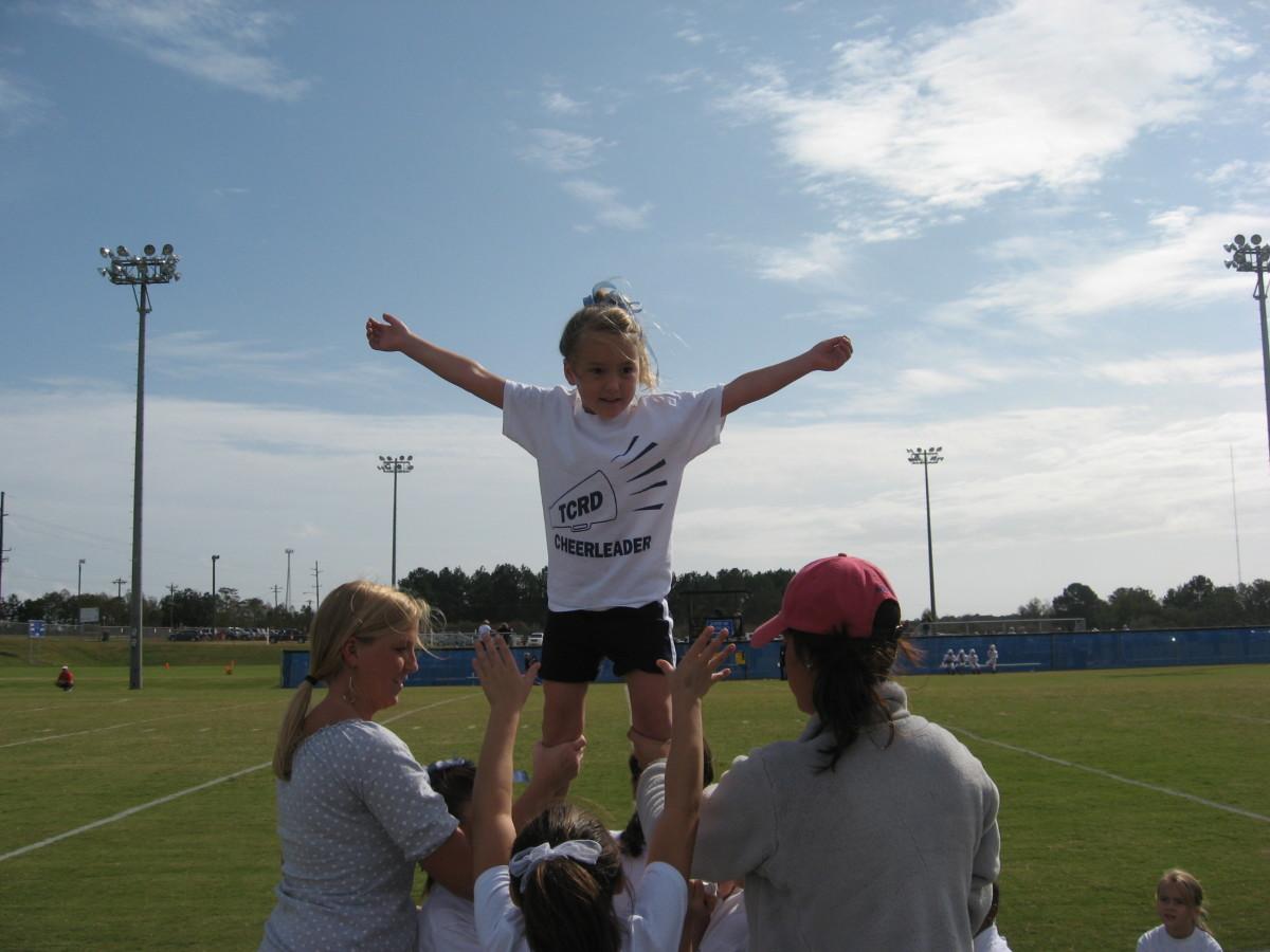 The girls enjoy cheerleading.