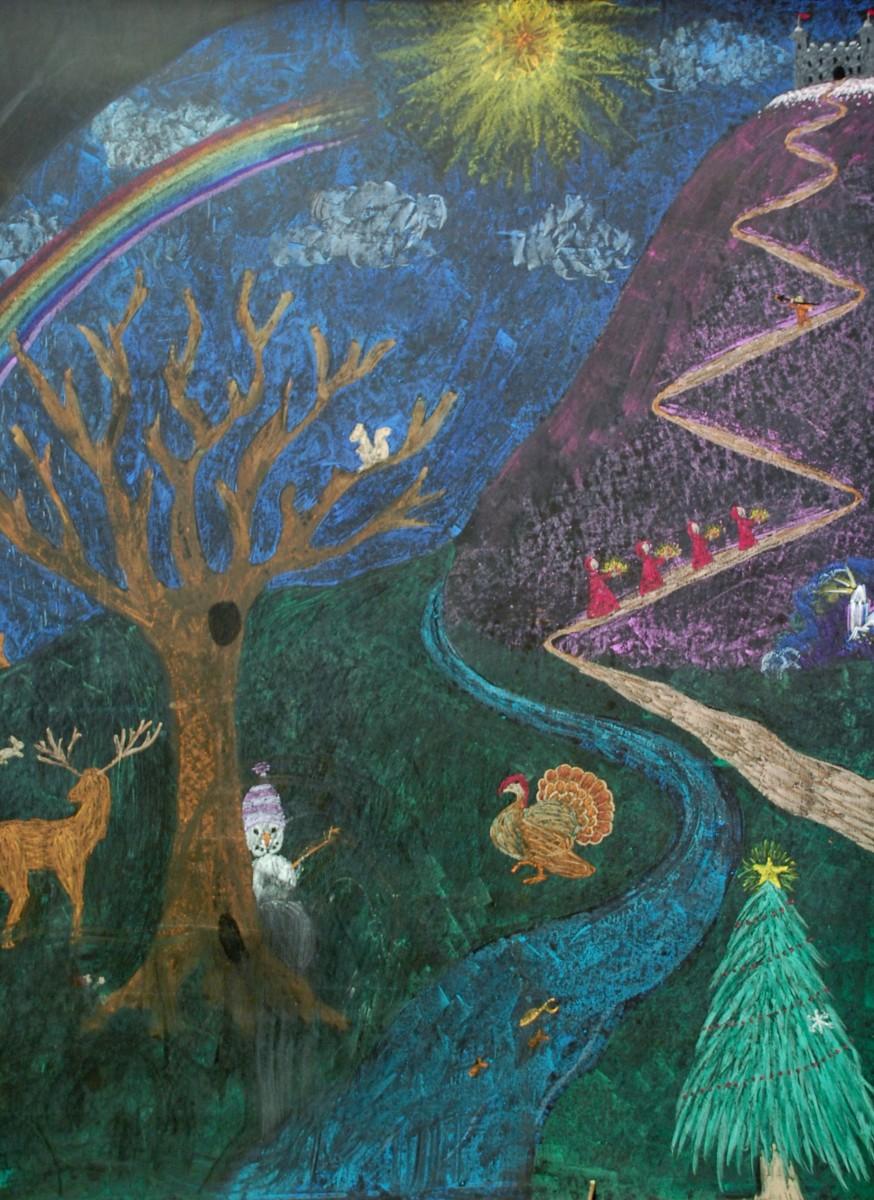 Waldorf teachers create blackboard art that relates to the story, lesson or season.