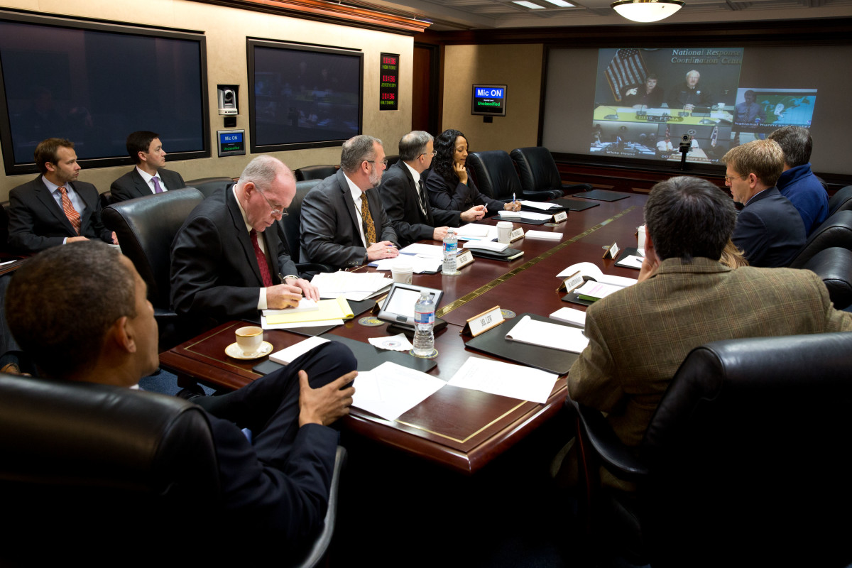 United States President Barack Obama is briefed on the response to Hurricane Sandy in the Situation Room of the White House on 29 October 2012.