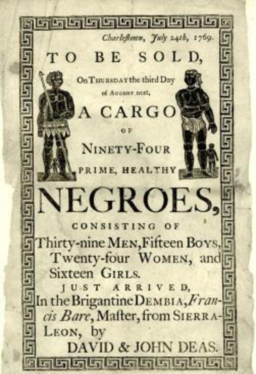Reproduction of a handbill advertising a slave auction in Charleston, South Carolina, in 1769.