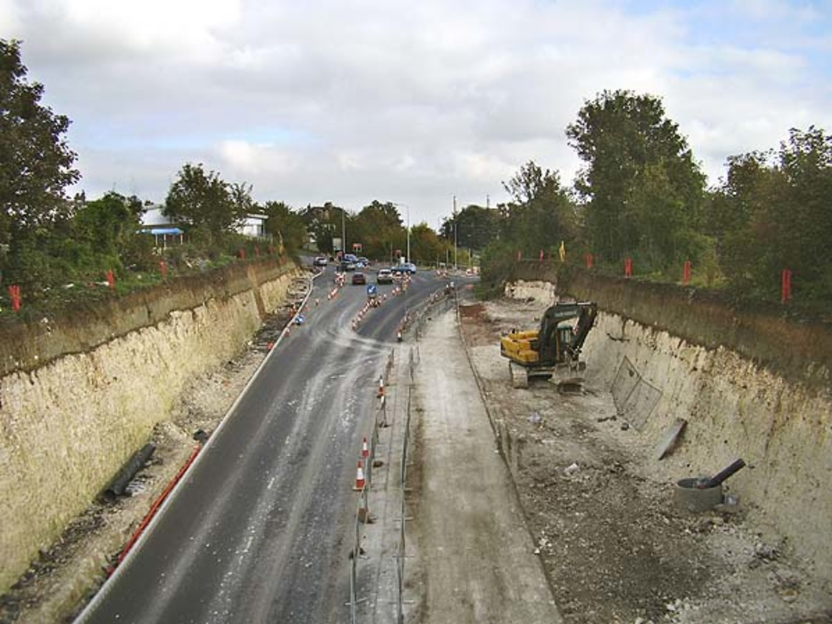 Rosherville Gardens Station site as cleared and turned into a road