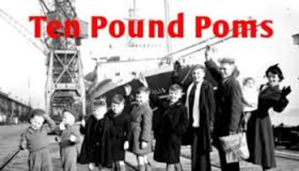 Ten pound Poms waiting to board a ship to Australia.