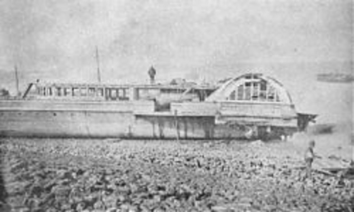 The other half of Princess Alice raised and beached