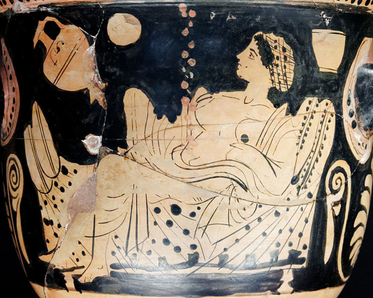 Greek krater 450-425 BCE showing Danae and the shower of gold. From the Louvre Museum.