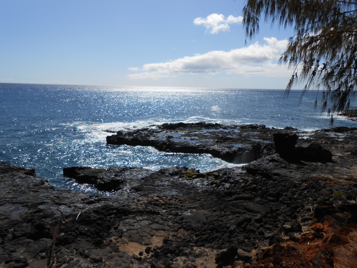 On the coast of Kauai, near the Spouting Horn