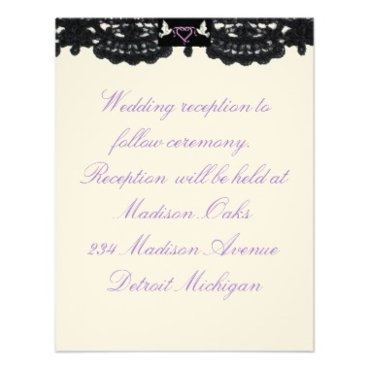 "Reception Invitation ""Design ""Doves And Ribbons"""