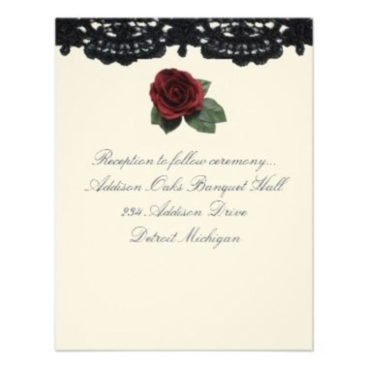 "Reception Invitation ""Roses And Cake"""