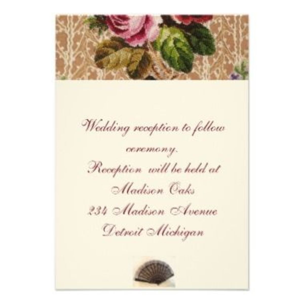 "Reception Invitation Design ""Tapestry And Roses"""