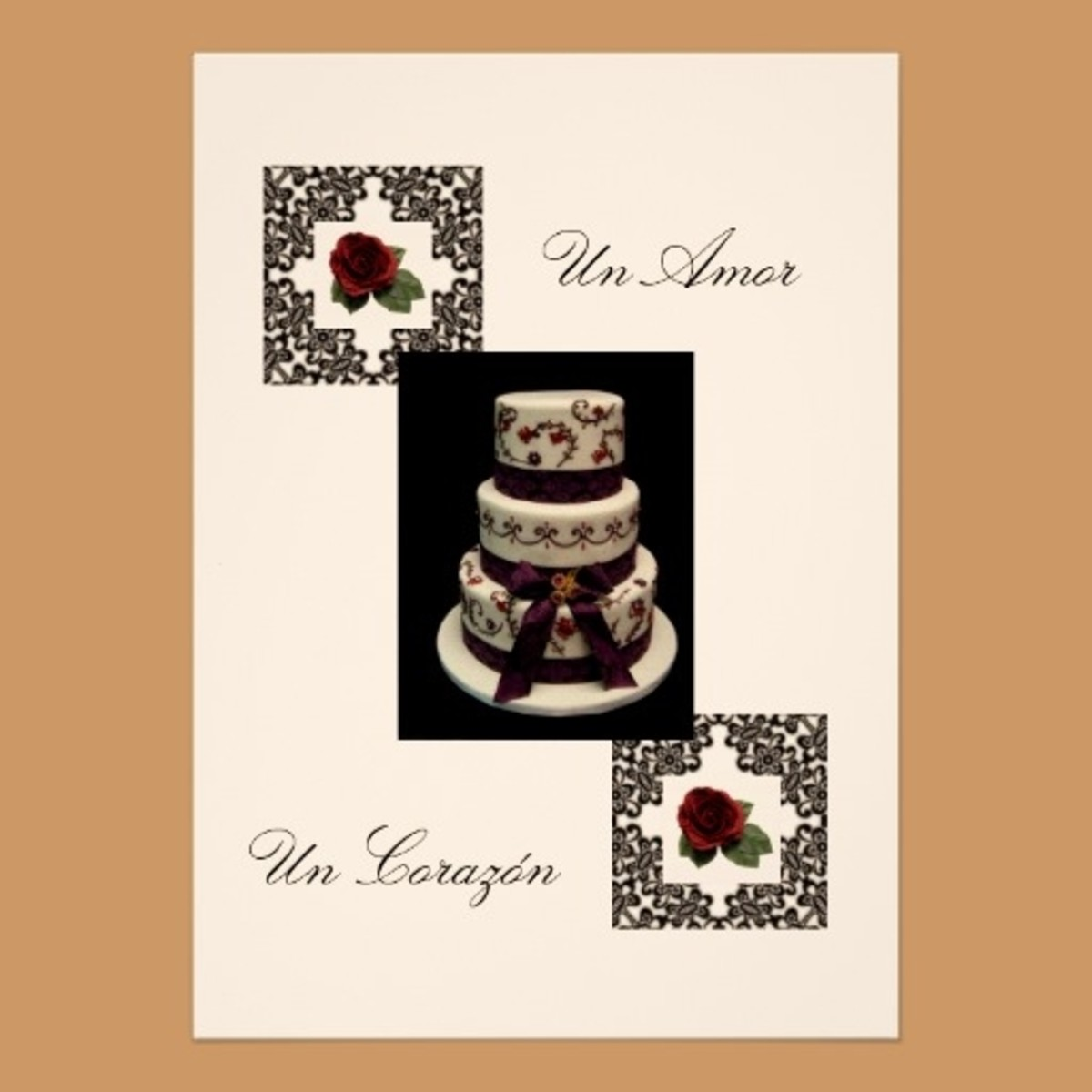 "Spanish Wedding Invitation Design ""Roses And Cake"""