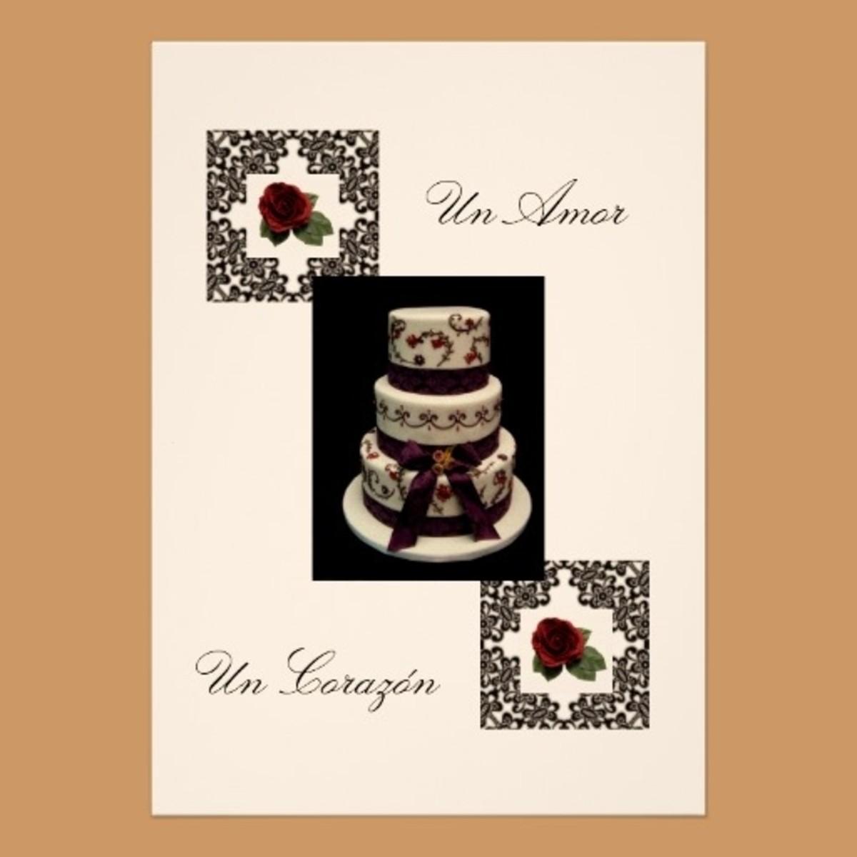 "Spanish Wedding Invitation Design ""Roses And Cake"""