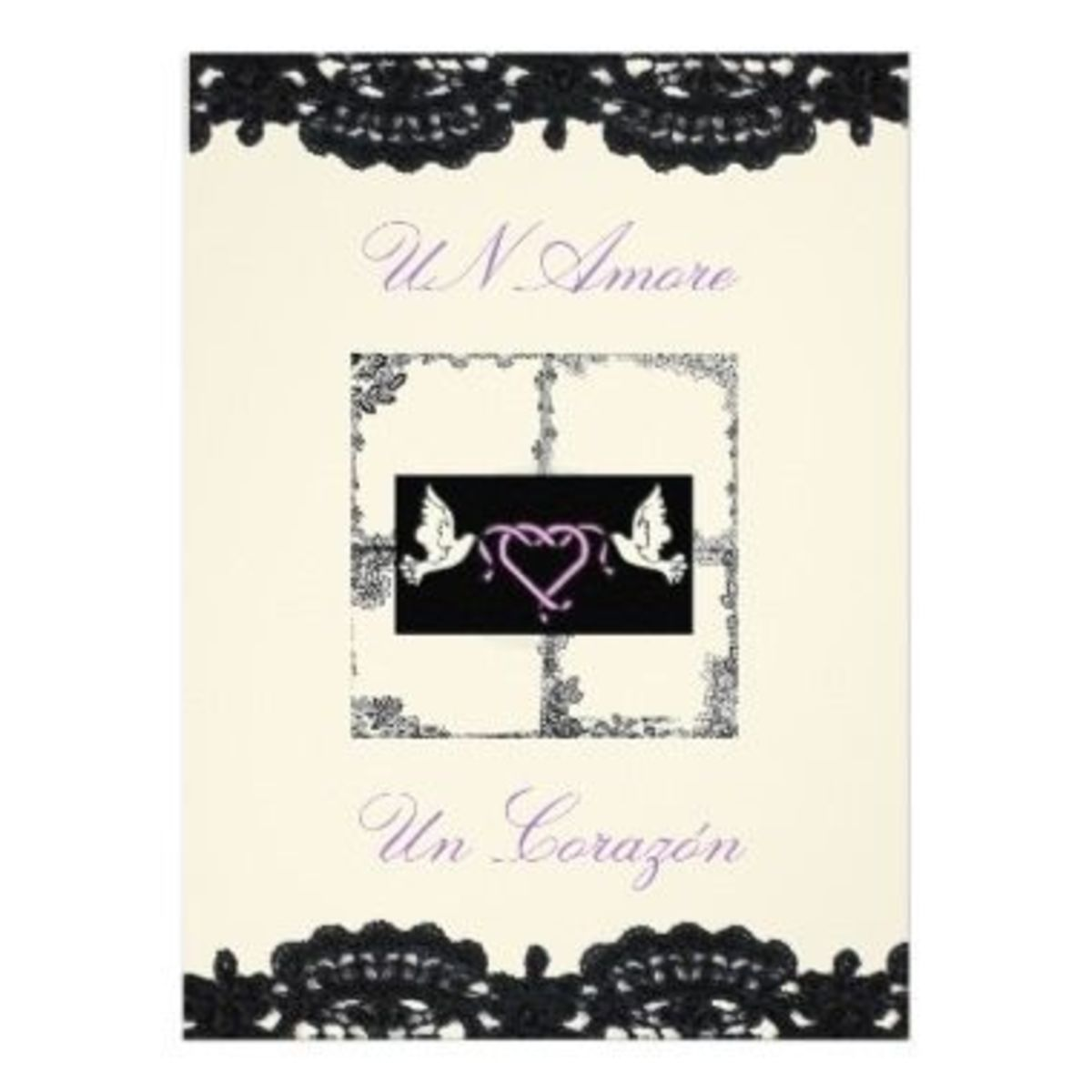 "Spanish Wedding Invitation ""Doves And Ribbons"""
